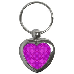 Magenta Mosaic Pattern Triangle Key Chains (heart)