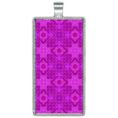 Magenta Mosaic Pattern Triangle Rectangle Necklace
