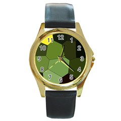 Mosaic Structure Background Tile Round Gold Metal Watch