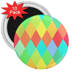 Low Poly Triangles 3  Magnets (10 Pack)