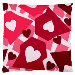 Pink Hearts Pattern Love Shape Large Cushion Case (one Side)