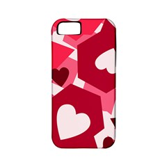 Pink Hearts Pattern Love Shape Apple Iphone 5 Classic Hardshell Case (pc+silicone)