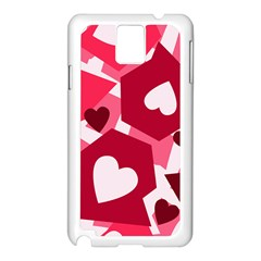 Pink Hearts Pattern Love Shape Samsung Galaxy Note 3 N9005 Case (white)