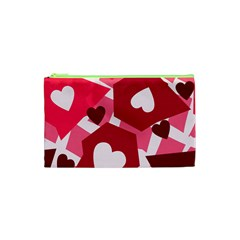 Pink Hearts Pattern Love Shape Cosmetic Bag (xs)