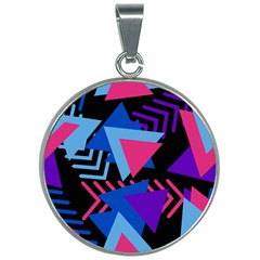 Memphis Pattern Geometric Abstract 30mm Round Necklace