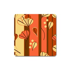 Amber Yellow Stripes Leaves Floral Square Magnet