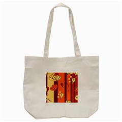 Amber Yellow Stripes Leaves Floral Tote Bag (cream)