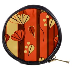 Amber Yellow Stripes Leaves Floral Mini Makeup Bag