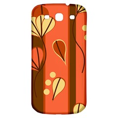 Amber Yellow Stripes Leaves Floral Samsung Galaxy S3 S Iii Classic Hardshell Back Case