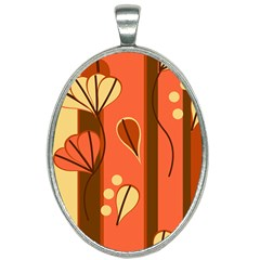 Amber Yellow Stripes Leaves Floral Oval Necklace by Pakrebo