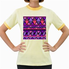 Seamless Purple Pink Pattern Women s Fitted Ringer T-Shirt