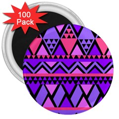 Seamless Purple Pink Pattern 3  Magnets (100 pack)