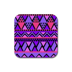 Seamless Purple Pink Pattern Rubber Square Coaster (4 pack)