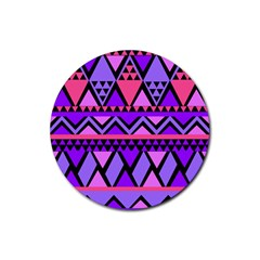 Seamless Purple Pink Pattern Rubber Round Coaster (4 pack)