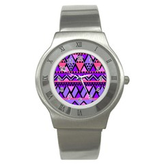Seamless Purple Pink Pattern Stainless Steel Watch