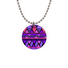 Seamless Purple Pink Pattern 1  Button Necklace