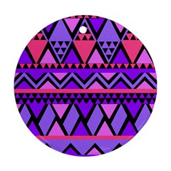 Seamless Purple Pink Pattern Round Ornament (Two Sides)