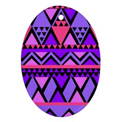 Seamless Purple Pink Pattern Oval Ornament (Two Sides)