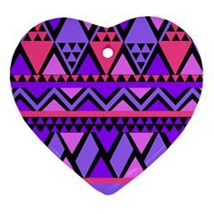 Seamless Purple Pink Pattern Heart Ornament (Two Sides)