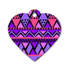 Seamless Purple Pink Pattern Dog Tag Heart (one Side)