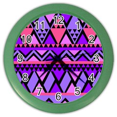 Seamless Purple Pink Pattern Color Wall Clock
