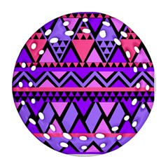 Seamless Purple Pink Pattern Round Filigree Ornament (Two Sides)