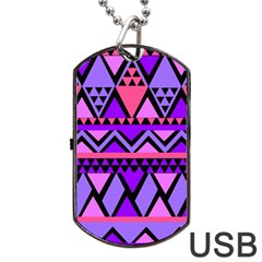 Seamless Purple Pink Pattern Dog Tag USB Flash (One Side)