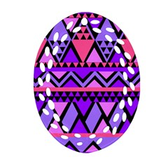 Seamless Purple Pink Pattern Oval Filigree Ornament (Two Sides)