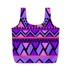 Seamless Purple Pink Pattern Full Print Recycle Bag (M)