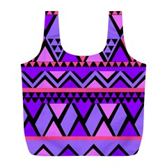 Seamless Purple Pink Pattern Full Print Recycle Bag (L)