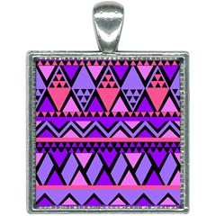Seamless Purple Pink Pattern Square Necklace
