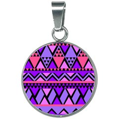 Seamless Purple Pink Pattern 20mm Round Necklace