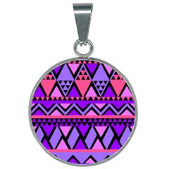 Seamless Purple Pink Pattern 25mm Round Necklace