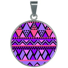 Seamless Purple Pink Pattern 30mm Round Necklace