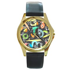 Repetition Seamless Child Sketch Round Gold Metal Watch