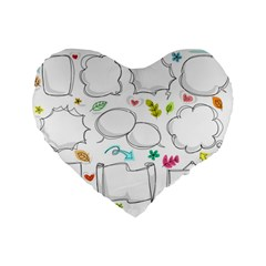 Set Chalk Out Chitchat Scribble Standard 16  Premium Heart Shape Cushions