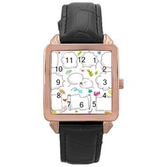 Set Chalk Out Chitchat Scribble Rose Gold Leather Watch