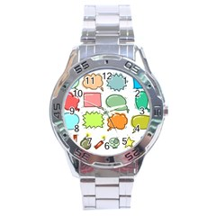 Set Collection Balloon Image Stainless Steel Analogue Watch