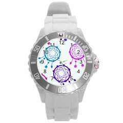 Dreamcatcher Dream Catcher Pattern Round Plastic Sport Watch (l)