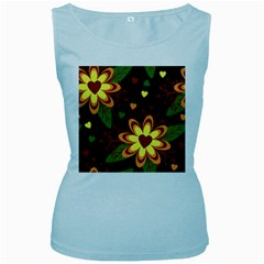 Floral Hearts Brown Green Retro Women s Baby Blue Tank Top