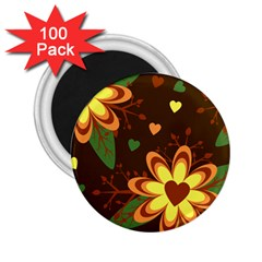 Floral Hearts Brown Green Retro 2 25  Magnets (100 Pack)