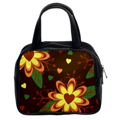 Floral Hearts Brown Green Retro Classic Handbag (two Sides)