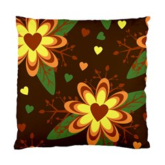 Floral Hearts Brown Green Retro Standard Cushion Case (one Side)