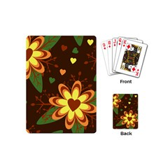 Floral Hearts Brown Green Retro Playing Cards (mini)