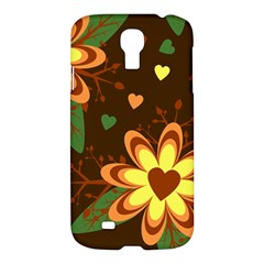 Floral Hearts Brown Green Retro Samsung Galaxy S4 I9500/i9505 Hardshell Case