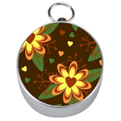 Floral Hearts Brown Green Retro Silver Compasses