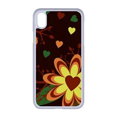 Floral Hearts Brown Green Retro Apple Iphone Xr Seamless Case (white)