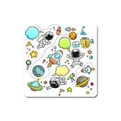 Sketch Cartoon Space Set Square Magnet