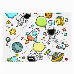 Sketch Cartoon Space Set Large Glasses Cloth