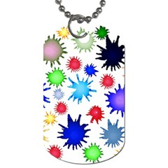 Inks Drops Black Colorful Paint Dog Tag (one Side) by Pakrebo
